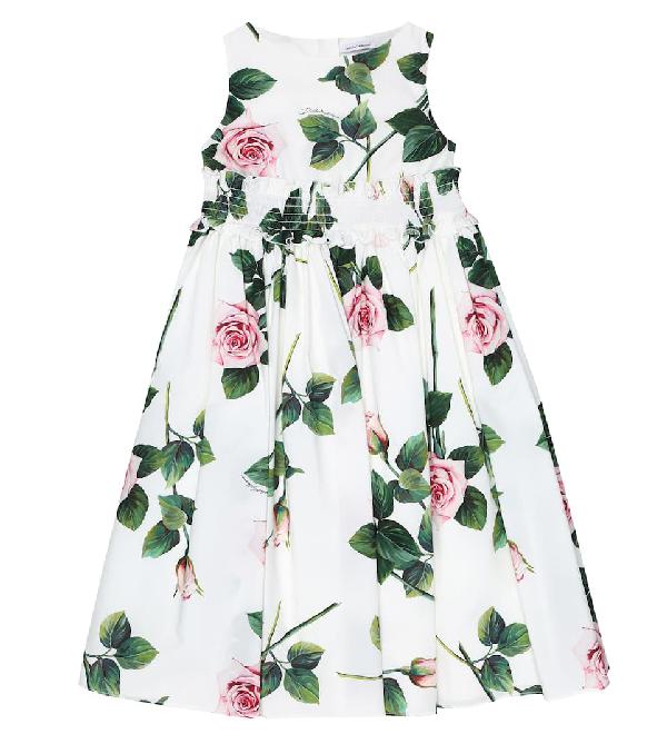Dolce & Gabbana Kids' Girl's Tropical Rose Shirred Waist Dress In White