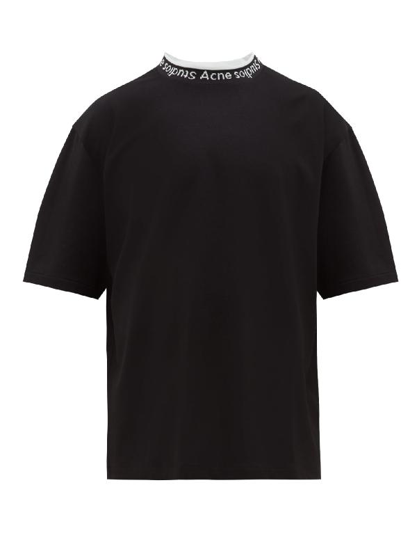 Acne Studios Logo-jacquard Stretch-jersey T-shirt In Black
