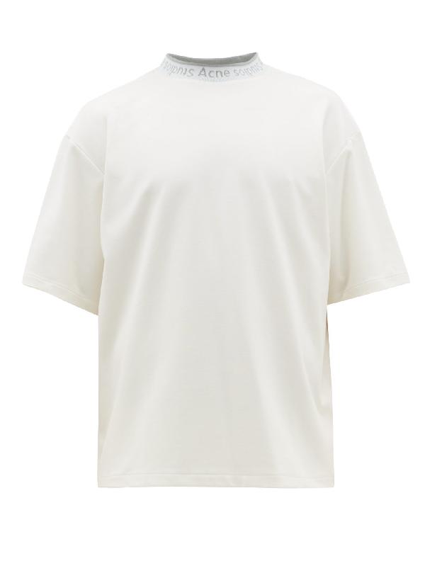 Acne Studios Extorr Logo-jacquard Cotton-jersey T-shirt In Opticwhite