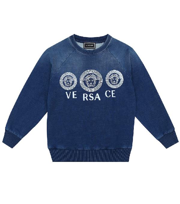 Versace Kids' Logo Stretch-cotton Sweater In Blue