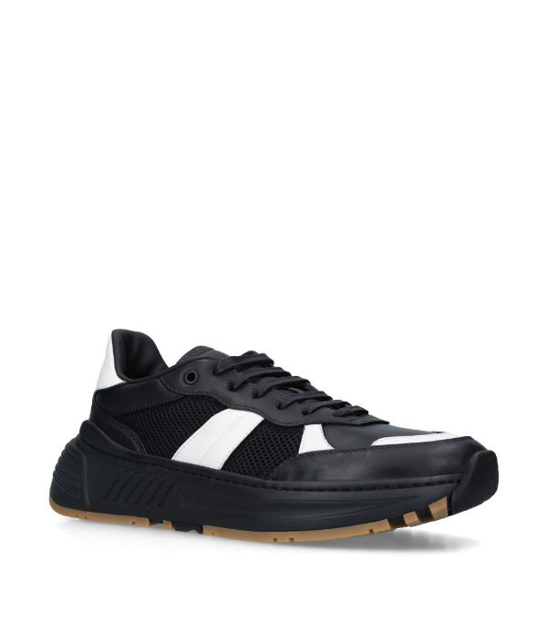 Bottega Veneta Meshed Detail Laced-up Sneakers In 1076 Black