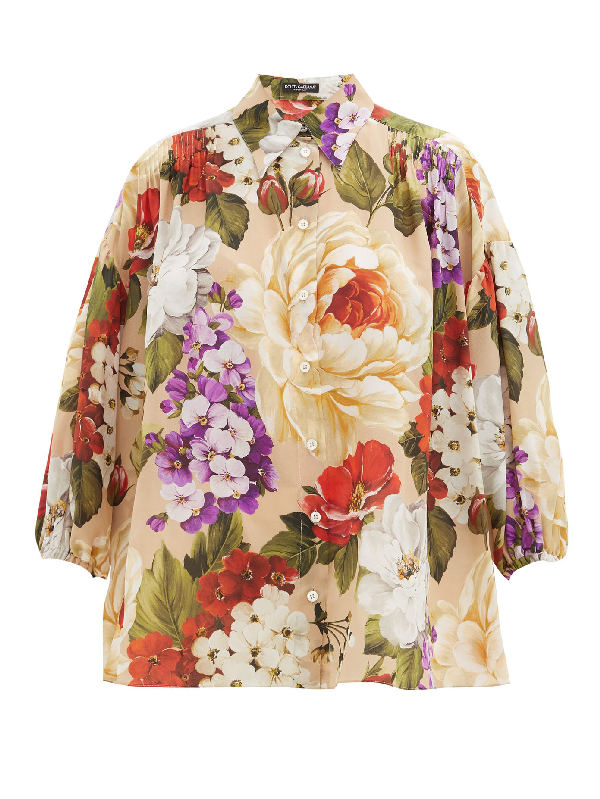Dolce & Gabbana Oversized Shirt With Floral Print In Neutrals