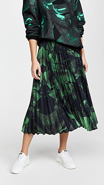 Off-white Logo Brushstroke Pleated Silk Midi Skirt In 1040 Black Green