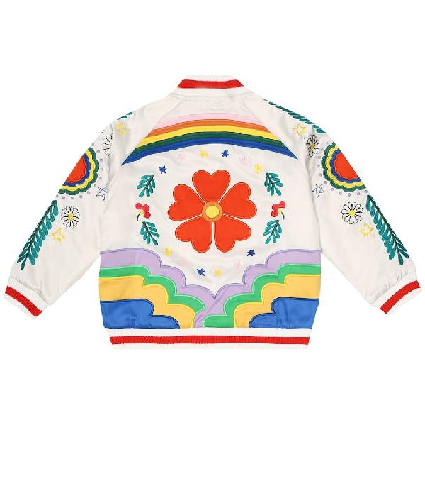 Stella Mccartney Kids' Embroidered Satin Bomber Jacket In 大地色