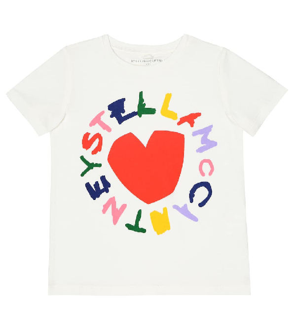 Stella Mccartney White Teen T-shirt With Multicolor Press In Neutrals