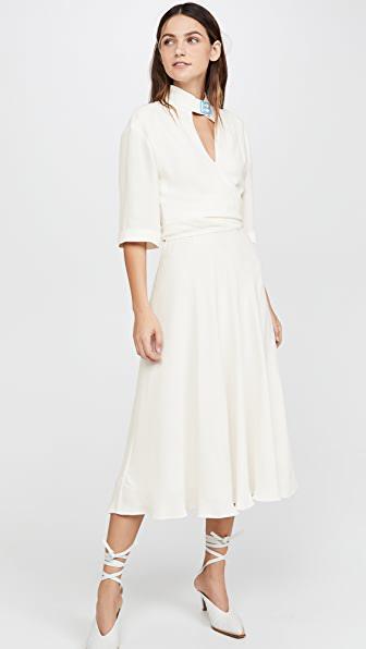 Off-white Techno Crepe Fluid Midi Dress In White