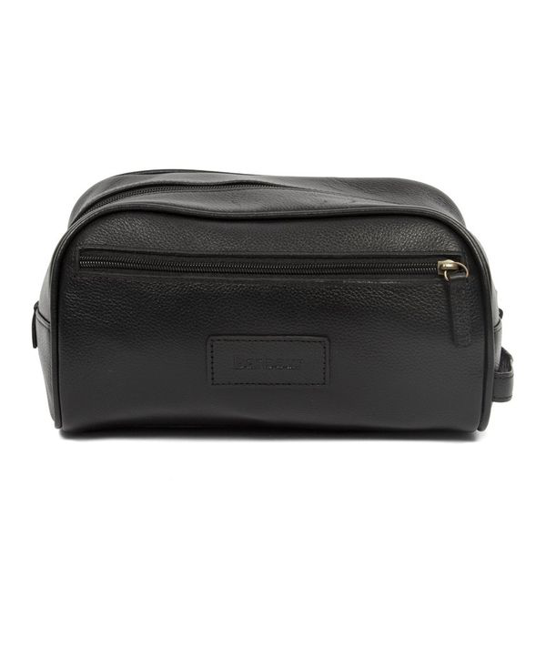 Barbour Leather Wash Bag (black)