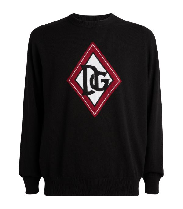 Dolce & Gabbana Crew Neck Cashmere Sweater With Dg Jacquard Logo In Black