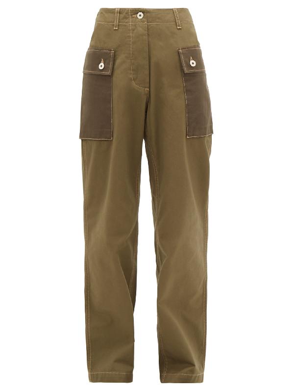 Loewe Wide Leg Cotton Canvas Cargo Pants In Green