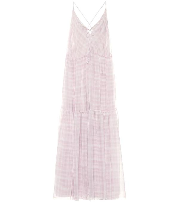 Jacquemus La Robe Mistral Checked Georgette Maxi Dress In Lilac