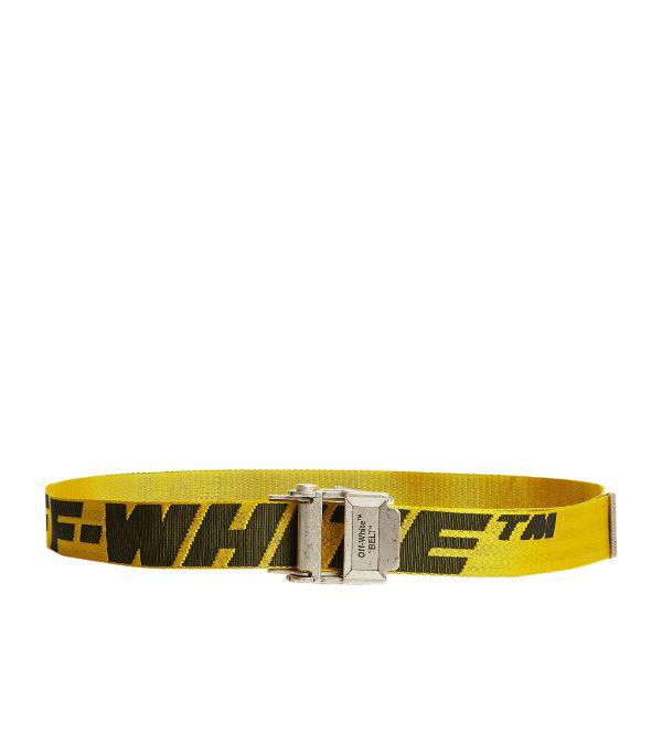 Off-white Men's Industrial Web Logo Belt, Yellow/black In Yellow ,black