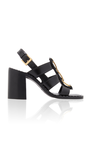 Prada Embellished Leather Sandals In Black