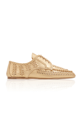 Prada Women's Classic Leather Lace Up Laced Formal Shoes In Gold