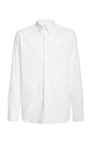 Prada Single-cuff Cotton-blend Poplin Shirt In F0009 Bianco