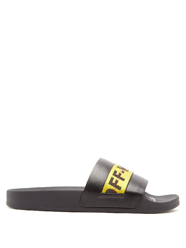Off-white Black And Yellow Industrial Strap Slides In 1060 Black/yellow