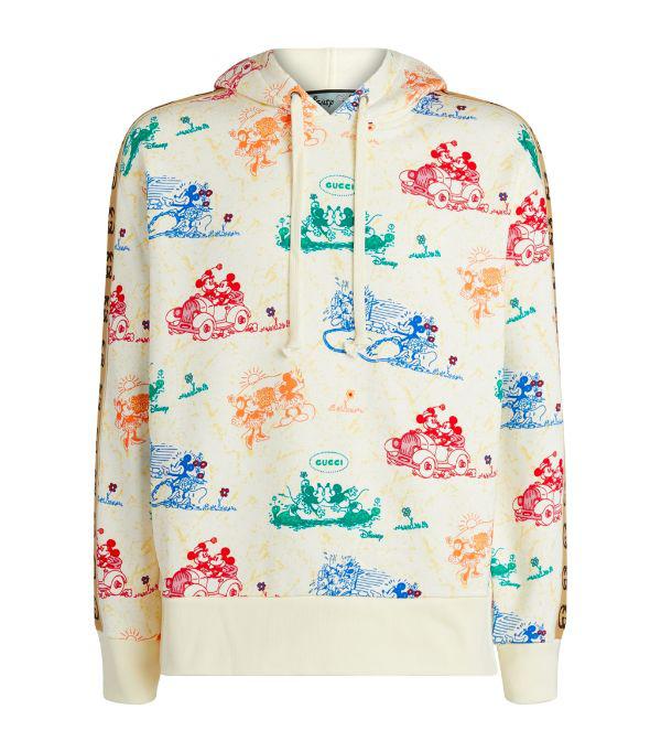 Gucci + Disney Webbing-trimmed Printed Loopback Cotton-jersey Hoodie In 大地色