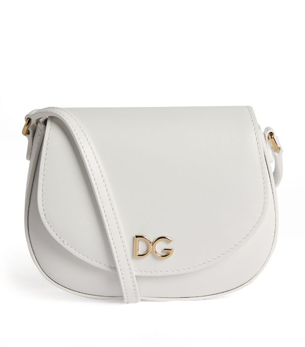 Dolce & Gabbana Kids Leather Shoulder Bag In White