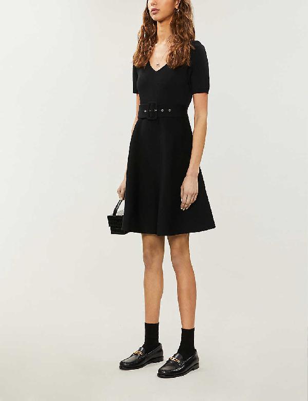 Claudie Pierlot Moncoeure V-neck Stretch-knit Mini Dress In Black
