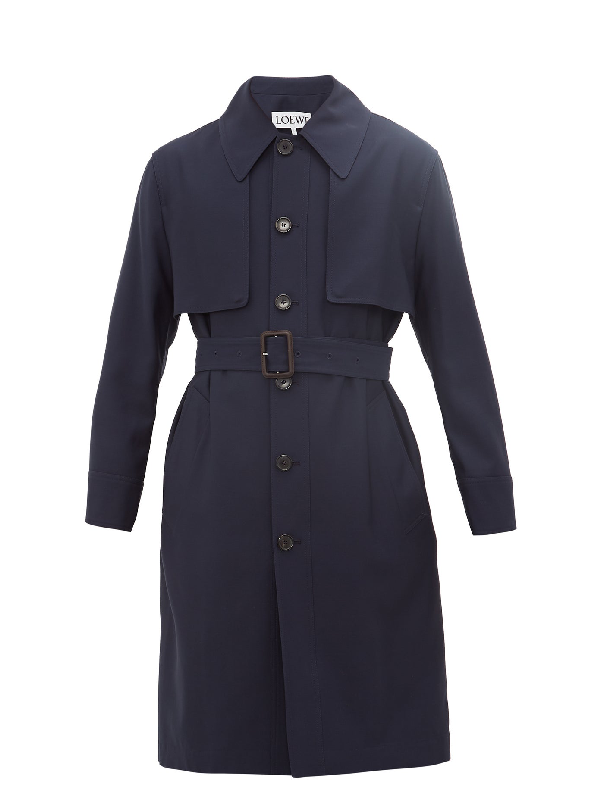 Loewe Unstructured Wool Trench Coat In Blue