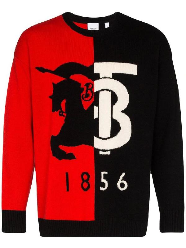 Burberry Contrast Logo Graphic Intarsia Cashmere Sweater In Black