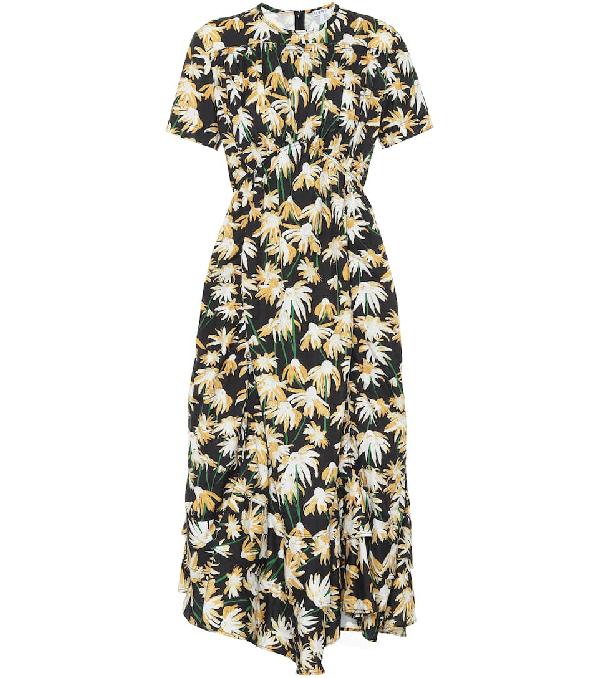 Loewe Daisy Print Gathered Cotton Midi Dress In Black