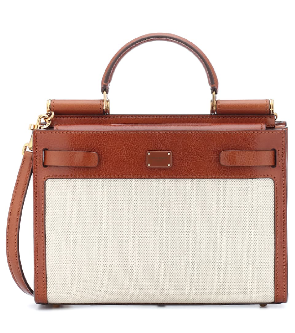 Dolce & Gabbana Sicily Leather-trimmed Canvas Top Handle Bag In Brown ,neutral