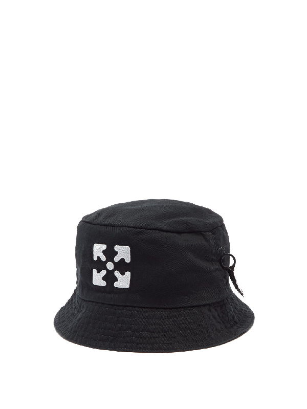 Off-white Logo-embroidered Cotton-twill Bucket Hat In Black