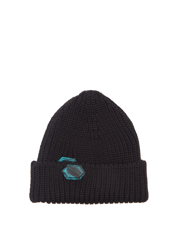 Off-white Equipment Rubber Logo-patch Wool Beanie In Black