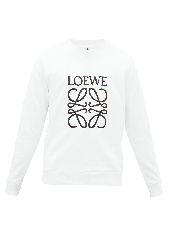 Loewe Slim-fit Logo-embroidered Loopback Cotton-jersey Sweatshirt In 2100 White