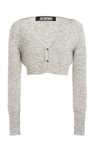 Jacquemus Le Cardigan Alzou Cropped Mohair-blend Cardigan In Grey