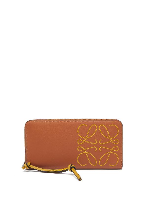 Loewe Anagram-perforated Leather Zip Wallet In Brown