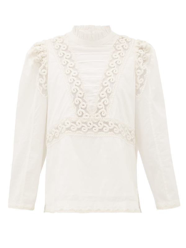 Sea Victoria Embroidered Pintucked Cotton Blouse In White