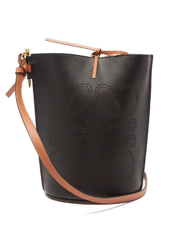 Loewe Gate Anagram-perforated Leather Bucket Bag In Black