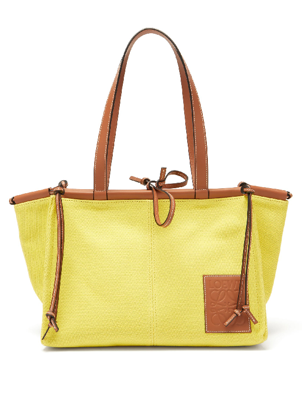 Loewe Cushion Small Canvas Tote Bag In Yellow