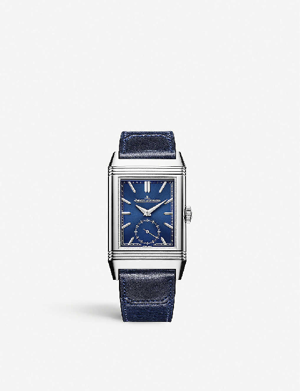 Jaeger-lecoultre 3978480 Reverso Tribute Stainless-steel And Leather Watch In Blue