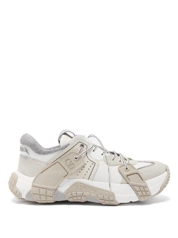 Valentino Garavani Vltn Wod Leather And Tecno Fabric Low Top Sneakers In White/beige