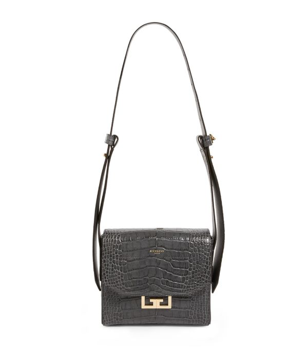 Givenchy Eden Mini Crocodile-effect Top Handle Bag In Grey