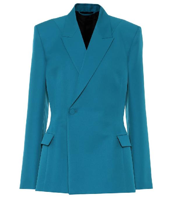 Balenciaga Waisted Technical-twill Blazer In Blue