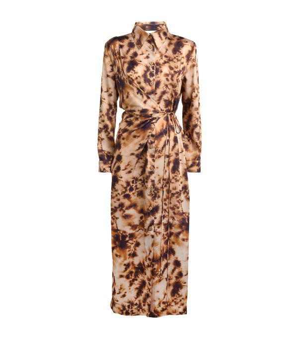 Nanushka Bisso Wrap-effect Tie-dyed Satin-twill Midi Dress In Brown