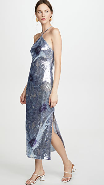 Jacquemus Sequinned Floral Patterned Dress In Blue