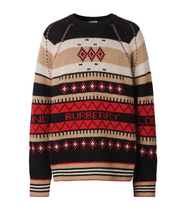 Burberry Icon Stripe Detail Fair Isle Cashmere Sweater In Black