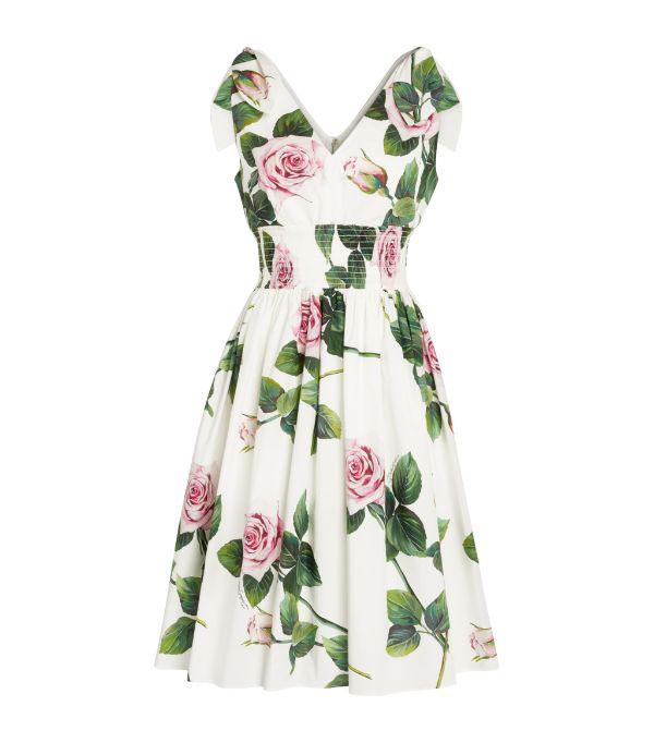 Dolce & Gabbana Rose Print Tie-shoulder Fit-&-flare Dress In White