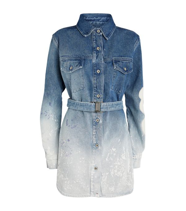 Off-white DÉgradÉ Paint-effect Denim Dress In Blau