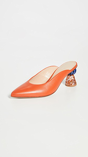 Jacquemus Maceio Embellished-heel Leather Mules In Orange