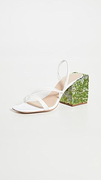 Jacquemus Les Mules Estello' Square Toe Sequin Heeled Sandals In White
