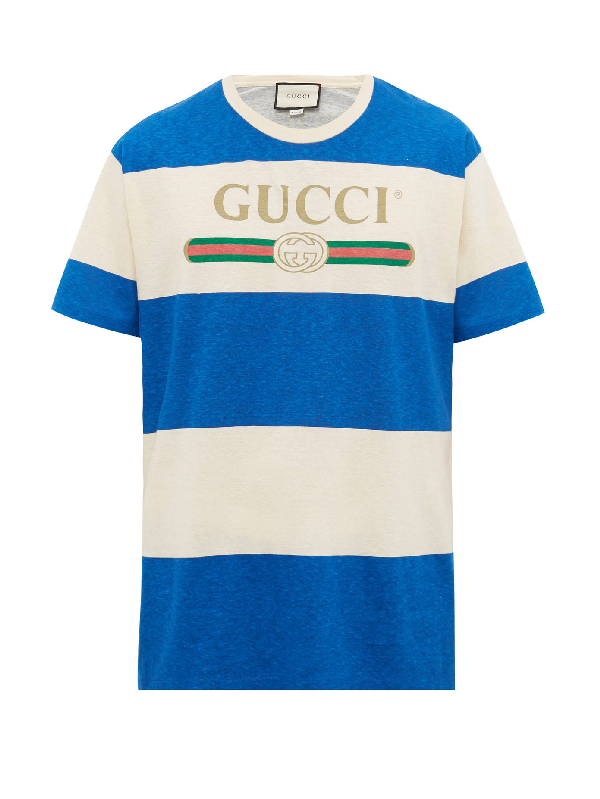 Gucci Logo-print Striped Cotton And Hemp-blend T-shirt In Natural/multi