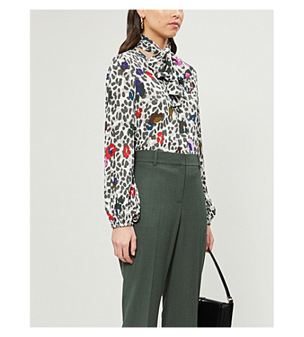 Ted Baker Chiara Wilderness Tie Neck Blouse In Ivory