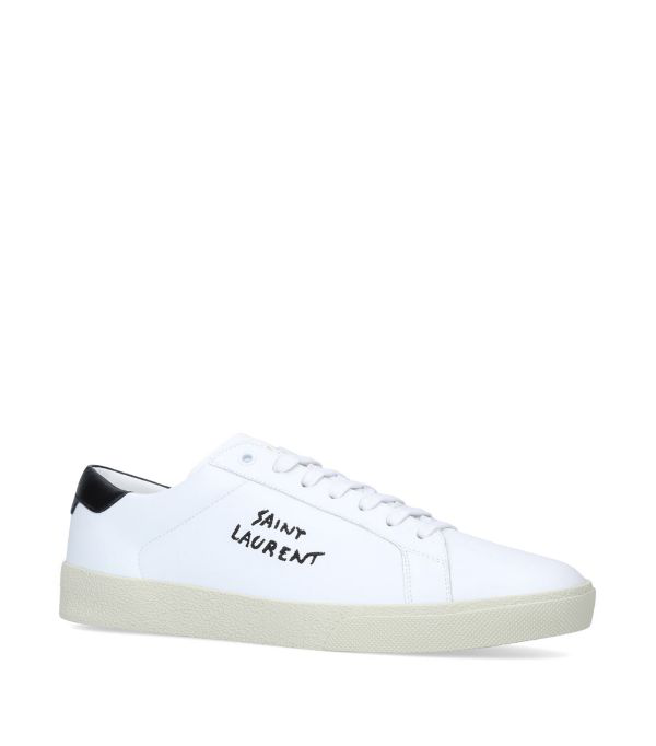 Saint Laurent White Court Classic Sl / 06 Man Sneakers With Embroidery