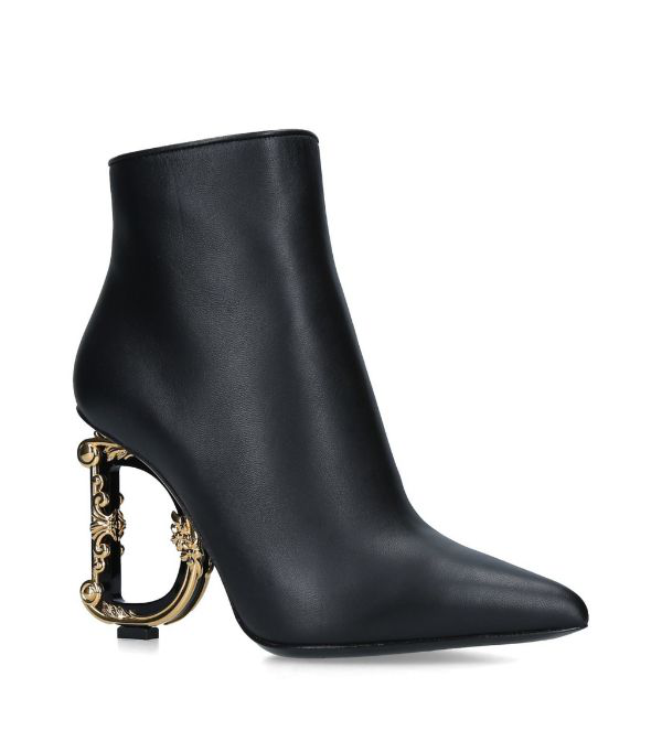 Dolce & Gabbana Black 105 Dg Baroque Logo Heel Leather Ankle Boots