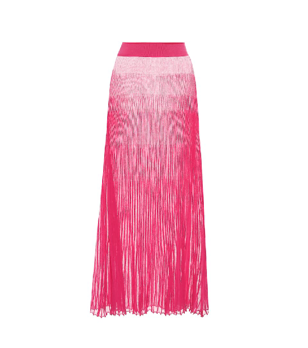 Jacquemus La Jupe Helado Longue Pleated Maxi Skirt In Pink
